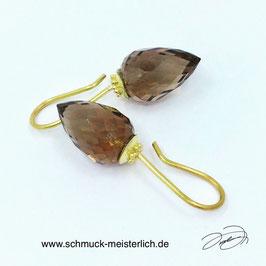Ohrhänger Granulation 750/-Gelbgold mit Rauchquarzpendel facettiert