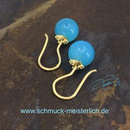 Ohrhänger 750/-Gelbgold Granulation mit Chalcedon-Kugeln sea blue