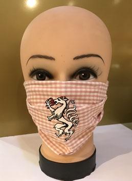 Mund-Nasen-Schutzmaske Baumwolle ROSA-WEISS KARIERT STEIERMARK PANTHER