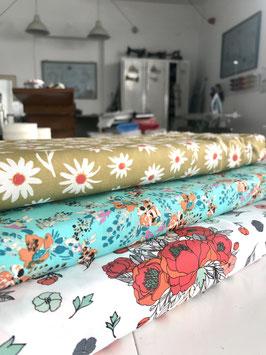 0,5m Blumenstoffe, 100% Baumwolle, 110cm breit