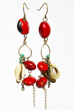 Boucles d'oreilles huayruro coquillage