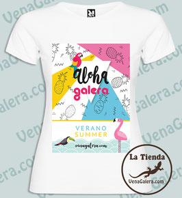 "Camiseta mujer estampada algodón ""Aloha Galera"""