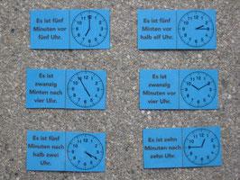 Uhrzeit-Domino: verbal und analog (anspruchsvoll)