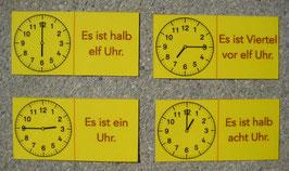 Uhrzeit-Domino: analog und verbal (einfache V.)