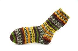 Socken- Handgestrickt Gr: 28-29  Fb: gelb, oliv, braun
