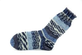 Socken- Handgestrickt Gr: 28-29  Fb: grau, jeansblau, hellblau