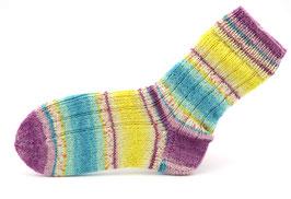 Socken- Handgestrickt Gr: 36-37  Fb: gelb, rosa, lila, türkis