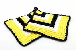Topflappen gelb/weiß/schwarz
