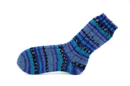 Socken- Handgestrickt Gr: 32-33  Fb: blau, türkis, dunkelblau