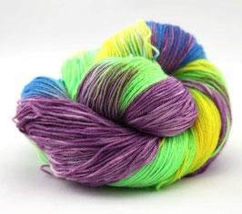 """Sockenwolle- handgefärbt  4fach """"Bienenfresser"""" Fb: lila, grün, blau, gelb"""