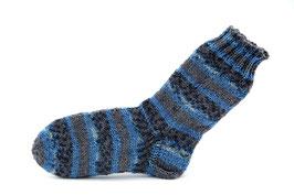 Socken- Handgestrickt Gr: 28-29  Fb: grau, jeansblau