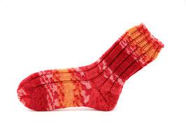 Socken- Handgestrickt Gr: 30-31  Fb: rot, orange gemustert