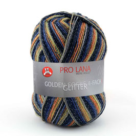 Sockenwolle- Golden Glitter 4 fach color Fb.472  blau, gelb, orange
