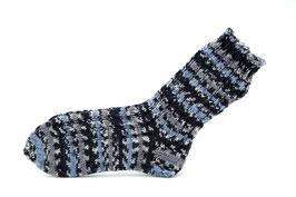 Socken- Handgestrickt Gr: 30-31  Fb: grau, blau, schwarz