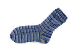 Socken- Handgestrickt Gr: 36-37  Fb: blau, jeansblau, grau