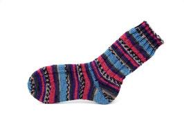 Socken- Handgestrickt Gr: 34-35  Fb: rosa, lila, grau