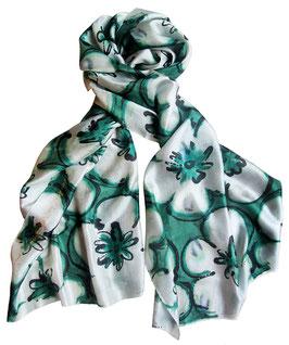 """Батик шарф """"Белые цветы"""""""
