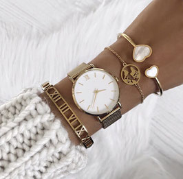ARMBAND PERLMUTT DOPPELTHERZ ♡ GOLD I SILBER