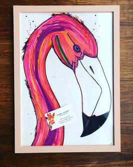 Flamingo A3 cadre bois pêche rosée