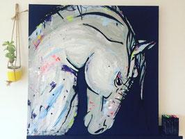 Cheval 100x100 fond bleu