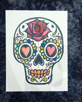 """Illustration """" Tête de mort"""" 50X65cm"""