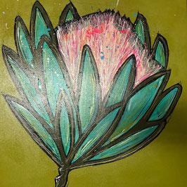 """Peinture Fleur """" Protea"""" 50x50cm"""