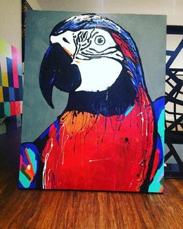 """Peinture perroquet """" Mr Répétito"""" 80x100cm"""