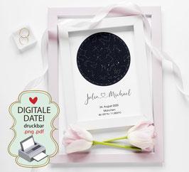 Personalisierte Sternenkarte als digitale Datei pdf, png