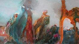 """""""Véraison""""  peinture à l'encre sur bois - 122 x 250 cm"""