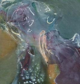"""""""Amoureux""""  peinture à l'encre sur bois - 151X146 cm"""
