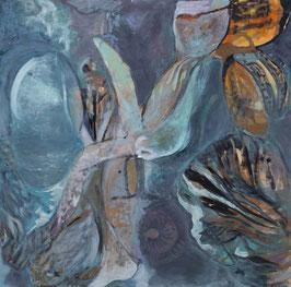 """""""Brésil""""  peinture à l'encre sur bois - 122x120cm"""