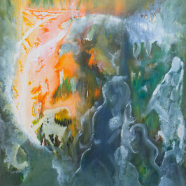 """""""Forêt""""  peinture à l'encre sur bois - 120X121cm"""