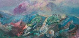 """""""Paysage de la mère""""  peinture à l'encre sur bois - 122 x 250 cm"""