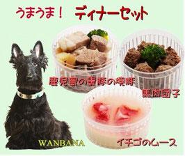 【即日対応可能】ディナーセット(馬肉団子、イチゴのムース、焼豚)(愛犬用)