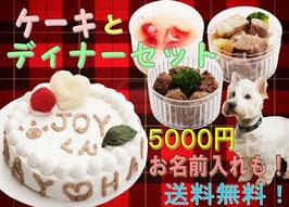 【送料無料】即日対応。愛犬用ケーキ「HAPPYDAY」4号ササミ入り+ディナーセット(馬肉団子、イチゴのムース、焼豚)