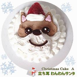 ◆犬用クリスマスケーキA 立ち耳わんわんサンタcake,馬肉生地,3号サイズ,10cm大