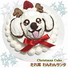 ◆犬のクリスマスケーキB たれ耳わんわんサンタcake 馬肉生地3号サイズ10cm大