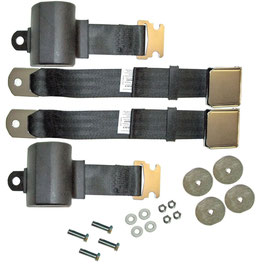 Kit complet ceinture avant retractable - 64-73 Mustang seat belts pair, retractable lap belts with lift latches