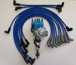 Kit d'allumage électronique HEI Small Block -62-80 SMALL BLOCK FORD Small Cap HEI Distributor + Spark Plug Wires