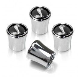 Bouchons de valve de pneumatique SHELBY - SHELBY Tire Valve Stem Caps Black and Silver Set of 4