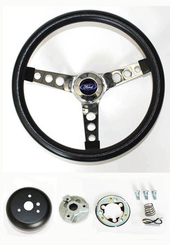 "Volant GRANT trois branches  13-1/2"" FORD - 1965-1969 Ford Mustang GRANT Steering Wheel Black 13 1/2"" Ford Center cap"