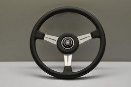 NARDI Classico ND 365mm Leder schwarz , Speichen Satin mit KBA