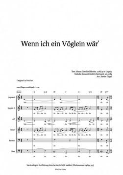 """Notensatz """"Wenn ich ein Vöglein wär""""  - Notation 'Wenn ich ein Vöglein wär'"""