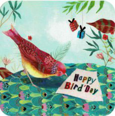 BAR157 KAART 'HAPPY BIRD-DAY VOGEL MET BRIEF' - IZOU