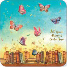 BAR175 KAART 'LET YOUR DDREAMS COME TRUE - BOEKEN EN VLINDERS' - JEHANNE WEYMAN