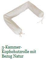 3-Kammer-Kopfschutzrolle, Dinkelspelz mit Bezug 12x170cm