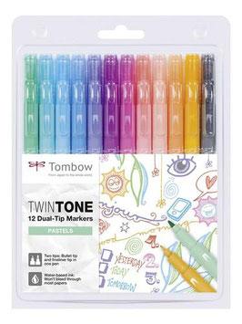 Tombow TwinTone set 12 markers Pastel Kleuren