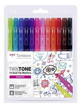 Tombow TwinTone set 12 markers Stralende Kleuren