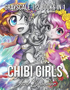 Jade Summer - Chibi Girls Grayscale - 2 books in 1