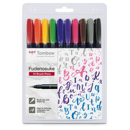 Tombow Fudenosuke Brush pen hard - 10 stuks
